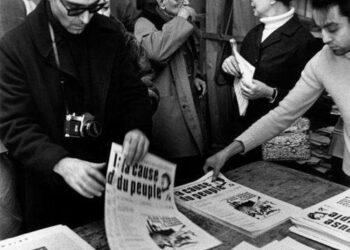 Годар, Сартр и Де Бовуар в редакции маоистской газеты (1970)