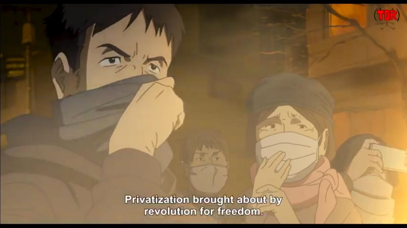 Сюжет аниме-короткометражки Ibuseki Yoruni: в недалеком будущем Китай и Япония создают единое государство, но на социалистических принципах.