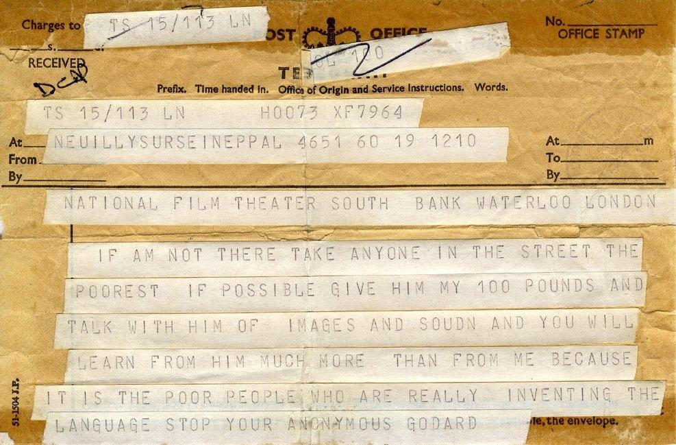 В мае 1968 Британский киноинститут позвал Годара прочесть лекцию о новом кино и его связи с революцией, но Годар был очень занят тем, что снимал на баррикадах в Париже