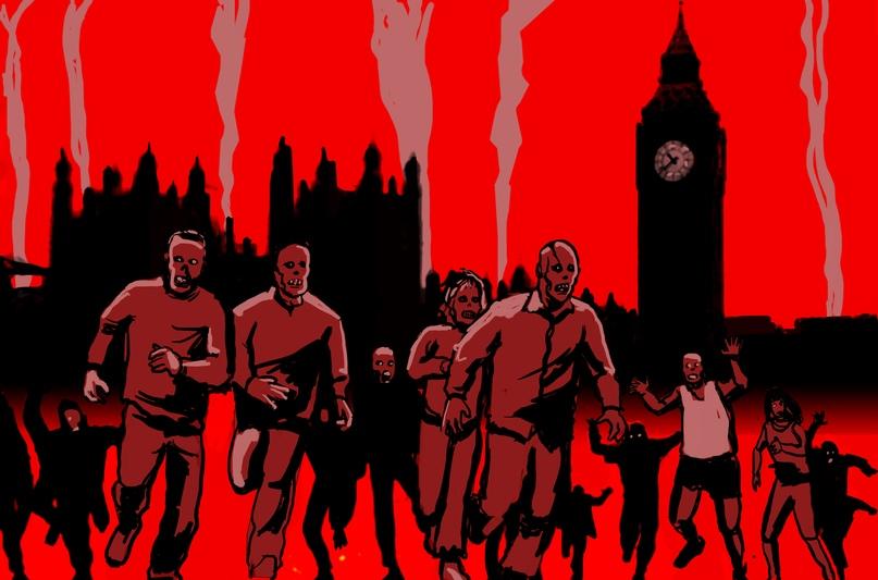 В 28 Days Later (2002) человечеству угрожает превращающий в зомби вирус