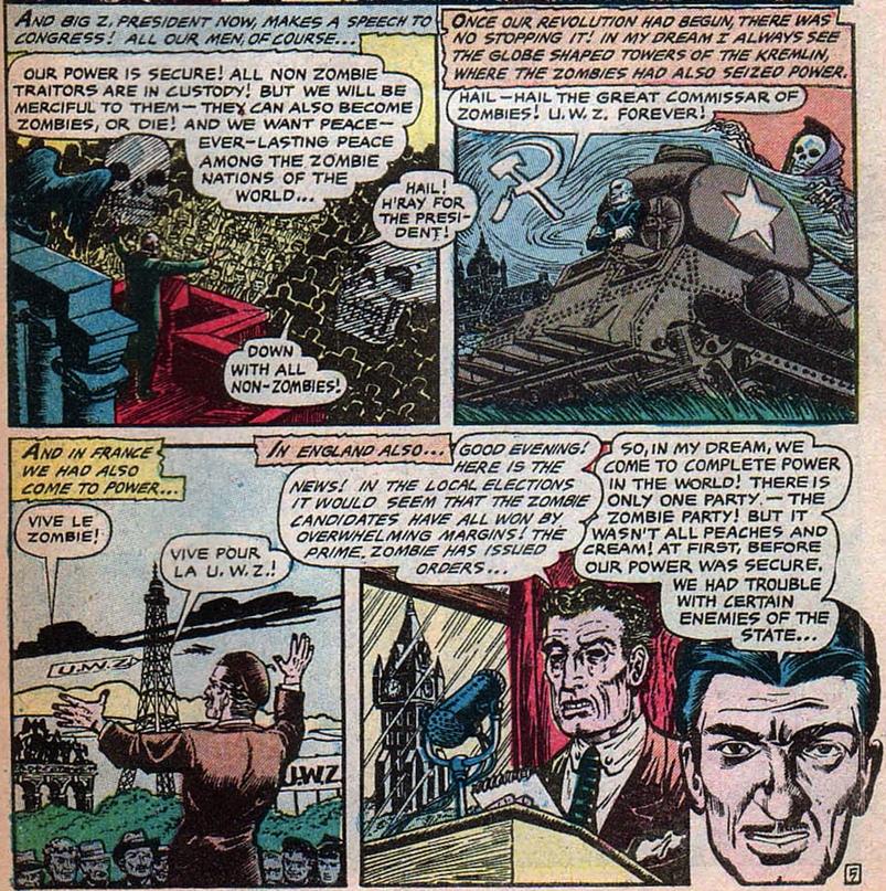 Corpses ... Cost to Coast (1954) рассказывает историю, как в результате забастовки могильщиков западную цивилизацию сокрушает орда коммунистических зомби под руководством своего восставшего из мёртвых Верховного Комиссара