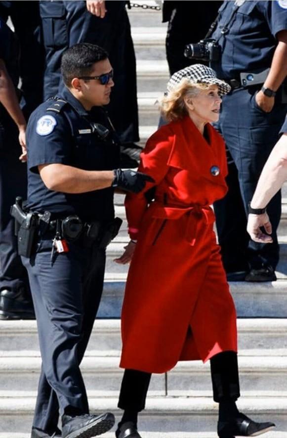 81-летняя актриса Джейн Фонда вспомнила о своей левацкой молодости и вышла на митинг, посвященный проблеме изменения климата, где её задержала полиция.